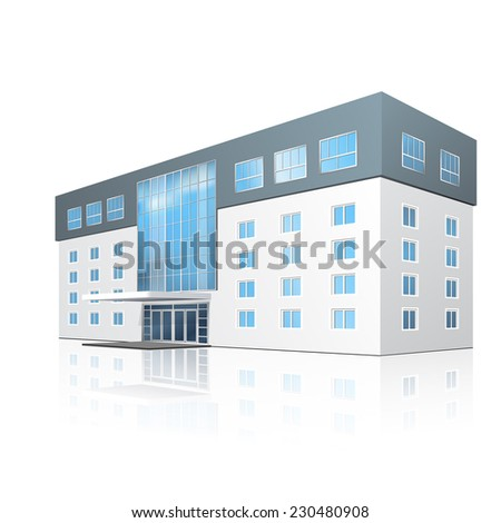 school building with reflection and input on a white background - stock vector
