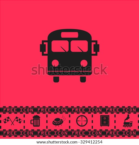 School Bus. Black flat vector icon and bonus symbol - Racing flag, Beer mug, Ufo fly, Sniper sight, Safe, Train on pink background - stock vector