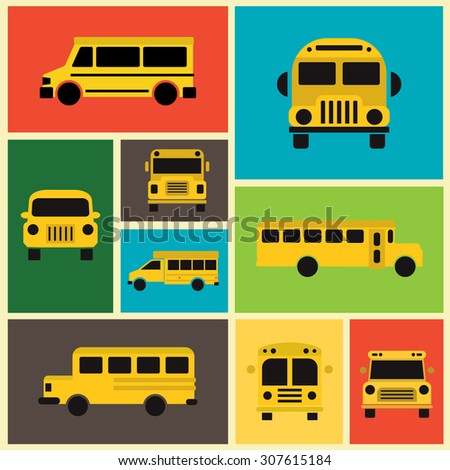 School Bus Collection / Colorful Background / Flat Design - stock vector