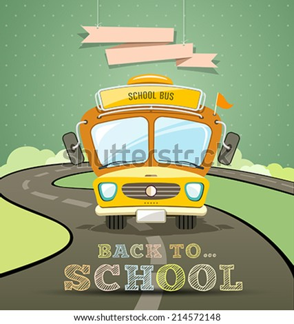 School bus concept design with message back to school background, vector illustration
