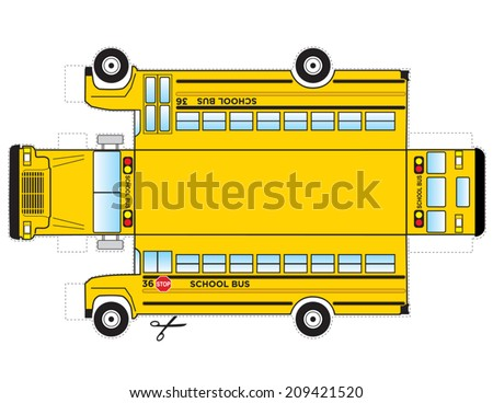 School Bus Cutout. This is a school bus that can be cut out and glued/taped to become a three dimensional object toy for kids.  - stock vector
