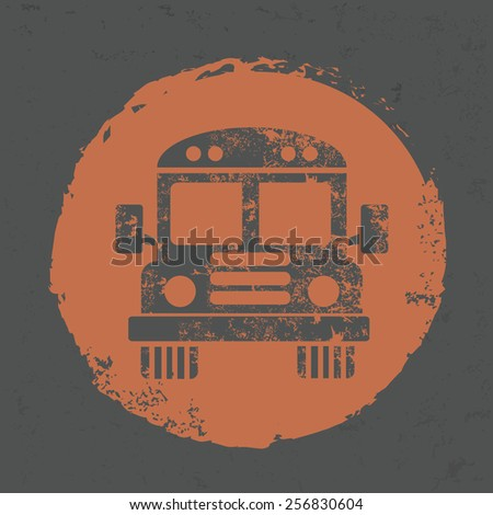 School bus design on old background,grunge vector - stock vector