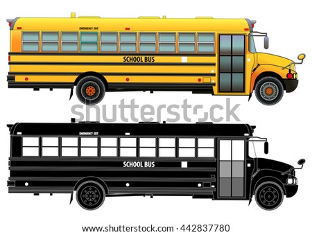 School bus, detailed vector illustration. Isolated on white. Icon. Flat style. Silhouette - stock vector