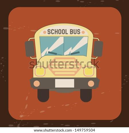 school bus icon over orange background vector illustration  - stock vector