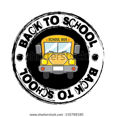 school bus icon over white  background vector illustration  - stock vector