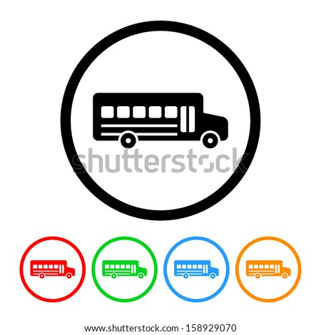 School Bus Icon with Color Variations - stock vector