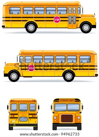School bus  in vector  (Set #32) - stock vector