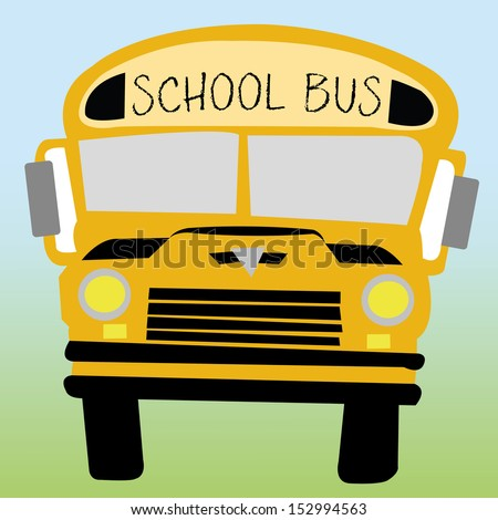 school bus on green and blue background