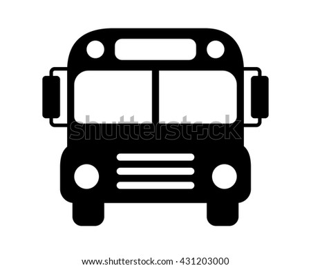 School bus or schoolbus transportation vehicle flat icon for apps and websites - stock vector