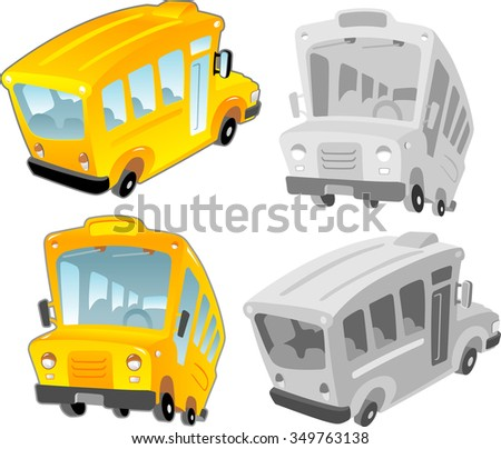 School Bus-Set of cartoon style bus in different variation for design elements - stock vector