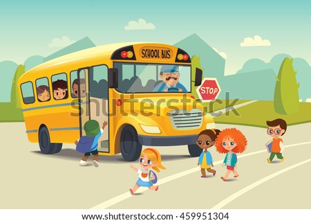 School bus traffic stop law. Back-To-School Safety Concept. Kids riding on school bus. Child boarding school bus. Kids crossing the road. Vector illustration. - stock vector