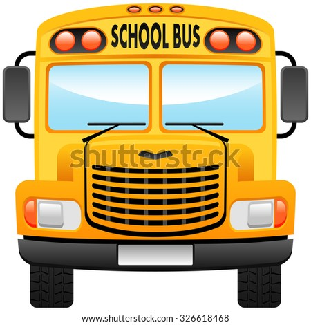 School bus vector illustration, front view.