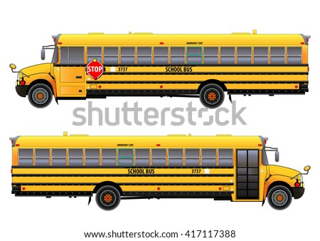 School bus, vector illustration. Isolated on white. Icon. Flat style