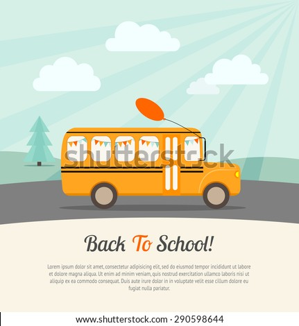 School bus with festive flags and balloon rides to school. Back to school poster.Vintage background. Flat vector illustration. - stock vector
