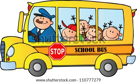 school bus happy children stock vector 2018 110777279 shutterstock rh shutterstock com Sky Vacation Bible School Clip Art Barbie Princess Charm School Clip Art