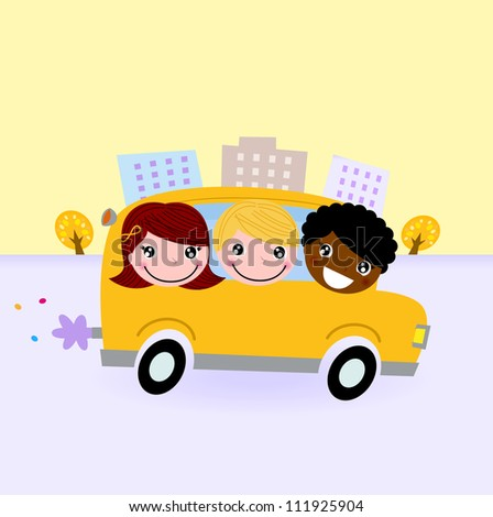 School bus with kids driving through town - stock vector