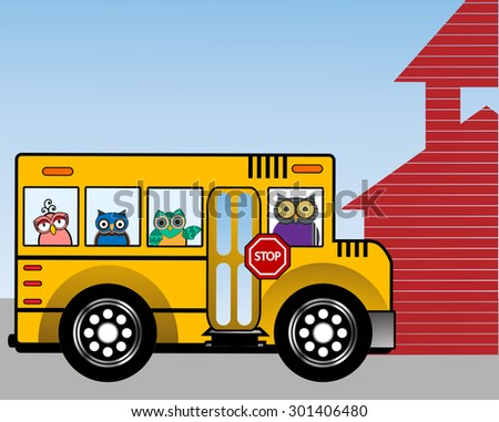 School bus with wise owls in the windows school house to the side  - stock vector