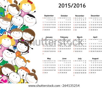 School calendar on new year school from 2015 to 2016 year - stock vector