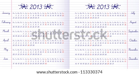School calendar on 2013 year. Exercise book