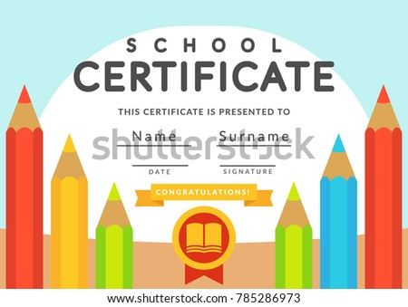 School certificate template kids kindergarten students stock school certificate template kids kindergarten students diploma concept template layout space background yelopaper Image collections
