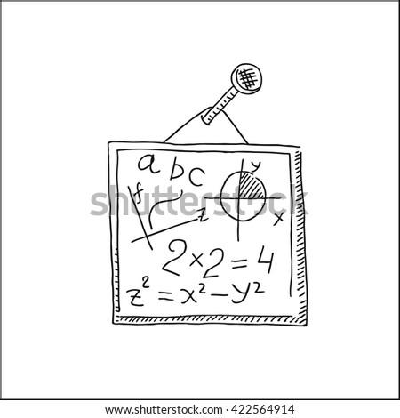 school chalkboard or blackboard with mathematical formulas vector hand drawn sketch illustration - stock vector