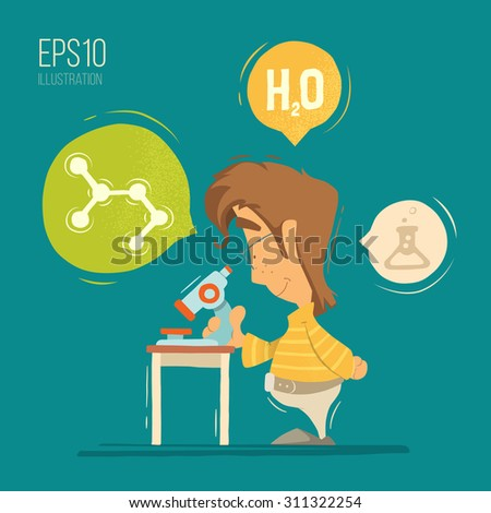 School chemistry lesson colorful vector illustration. Young schoolboy boy child kid pupil holding, using microscope. - stock vector