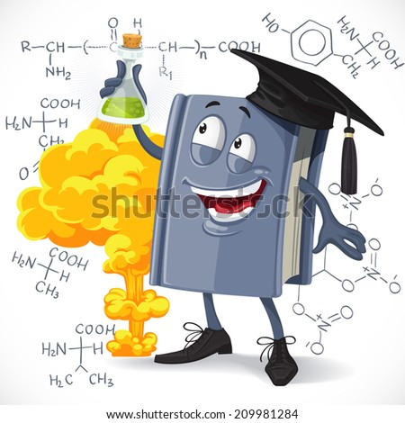 School chemistry textbook hold test-tube on detonation and formula background - stock vector