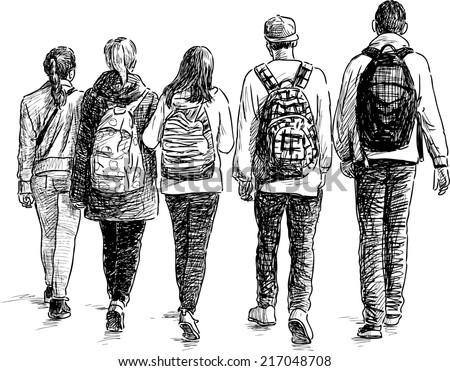 school children - stock vector