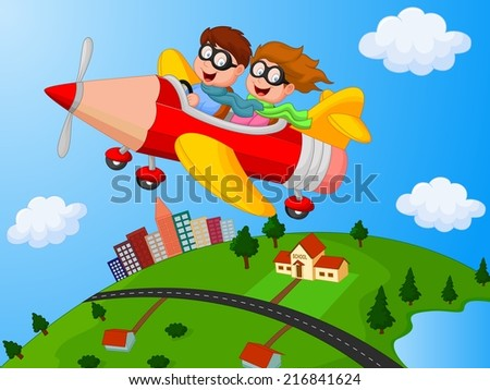 School Children Enjoying airplane pencil - stock vector