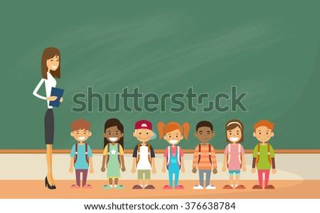 School Children Group With Teacher Classroom Green Board Flat Vector Illustration - stock vector