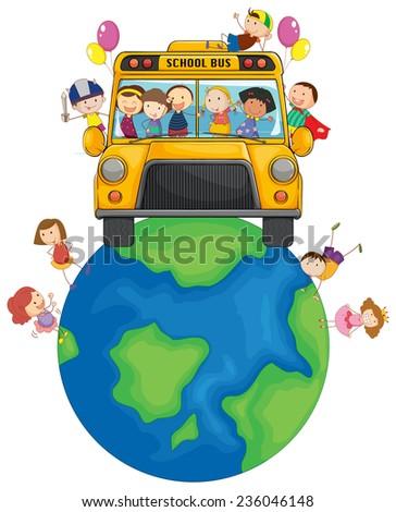 School children riding on Earth - stock vector