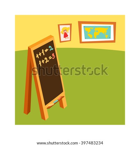 School class with chalkboard desks and school class for education, study, blackboard. Classroom without student school class with wooden furniture and green blackboard on brick-wall-rendering vector. - stock vector
