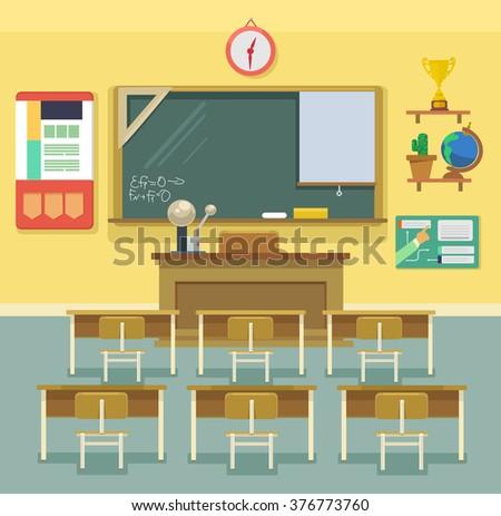 School classroom. Vector flat illustration - stock vector