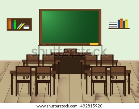 classroom table vector. school classroom. vector flat illustration classroom table