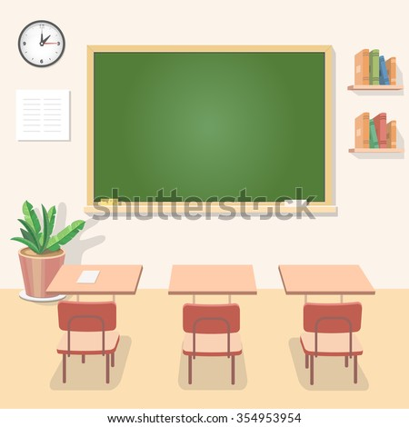School classroom with chalkboard and desks. Class for education, board, table and study, blackboard and lesson. Vector flat illustration - stock vector