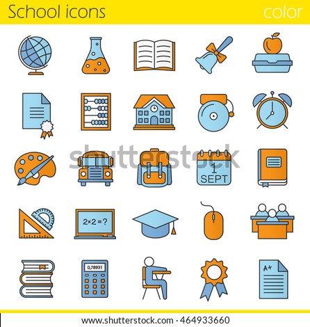 School color icons set. Class register, calculator, pupils, school bus, bell and building. Open textbook, diploma, lunchbox, rulers, backpack, calendar and academic cap. Isolated vector illustrations