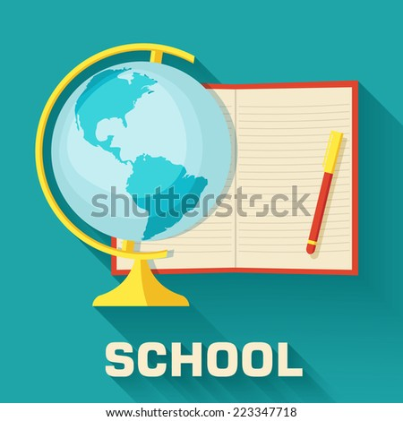 school concept globe with notepad icon set background. Vector illustration design - stock vector