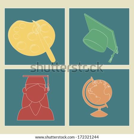 school design over beige background vector illustration - stock vector