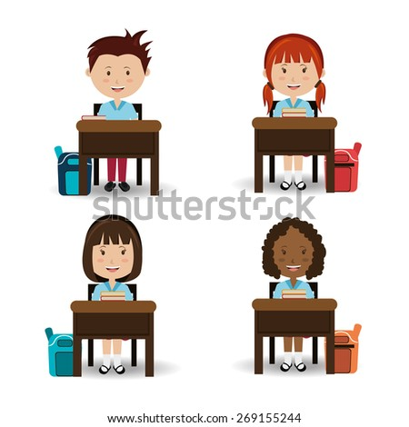 School design over white background, vector illustration. - stock vector