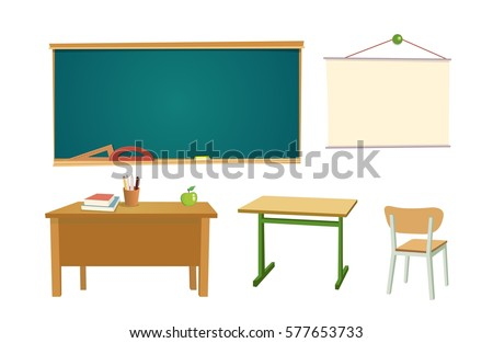 School desk chipboard chair vector flat stock vector 577653733 school desk chipboard and a chair vector flat color illustration isolated on white publicscrutiny Choice Image