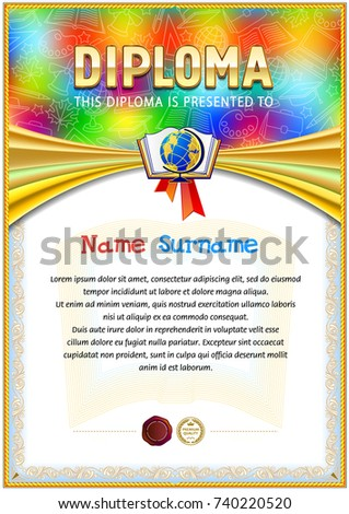 empty diploma template design childrens style stock vector  school diploma template colorful top background school supplies icons