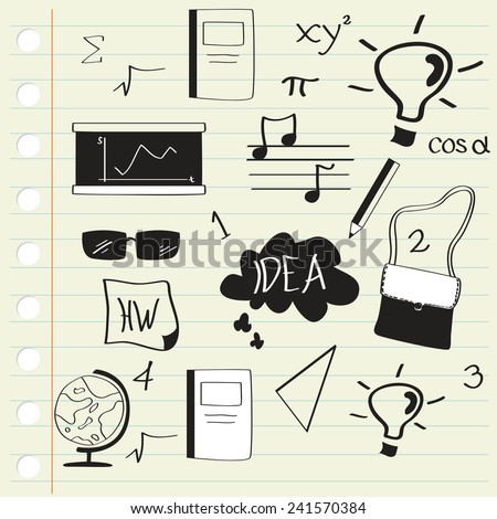 School Doodle Freehand Drawing - stock vector