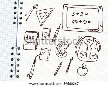 School doodle in the notebook - stock vector