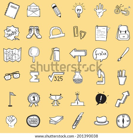 School Doodle Isolated - stock vector