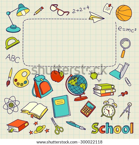 School doodle on the page with space for text vector - stock vector