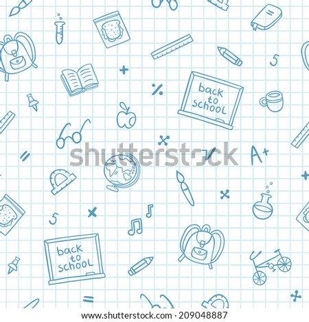 School doodle pattern on a notebook paper