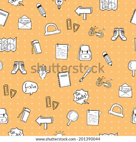 School Doodle Pattern Seamless version 1 - stock vector