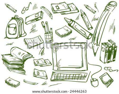School Doodles - Vector - stock vector