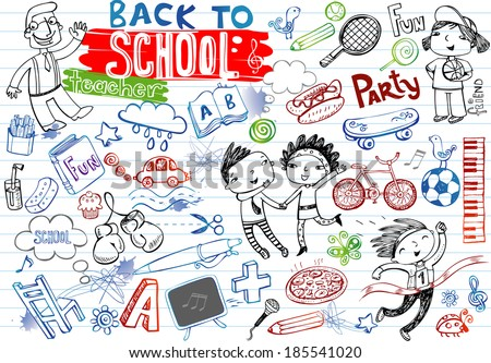 School doodles, vector set - stock vector