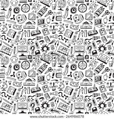 school education , art tools  - seamless background - stock vector